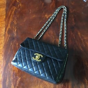 CHANEL Large Lambskin Quilted Handbag